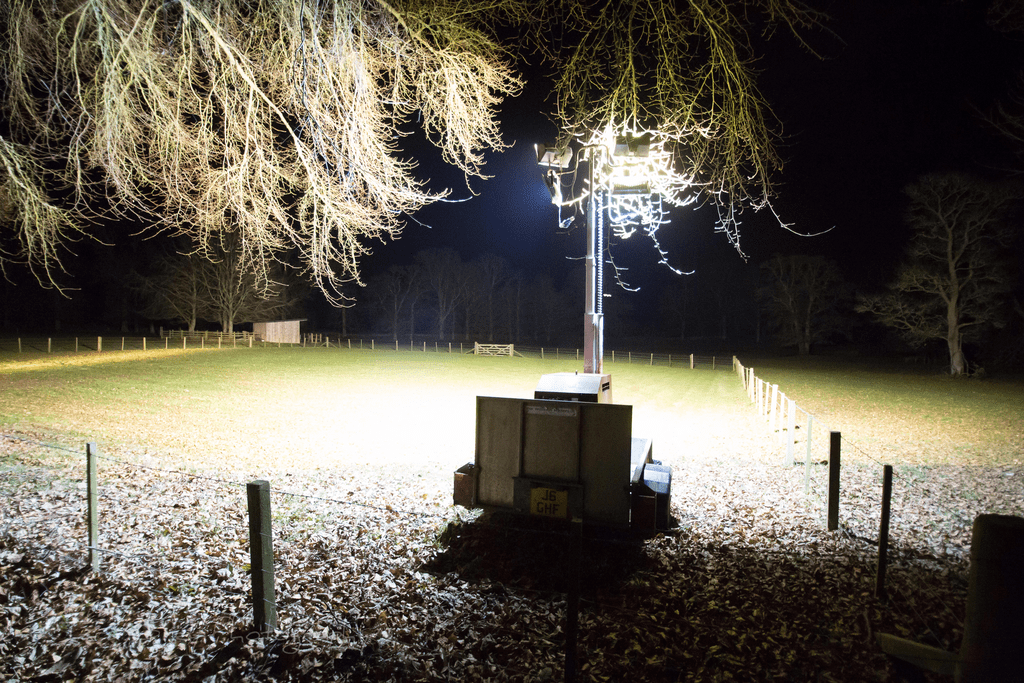 Lighting tower hire in car park at event